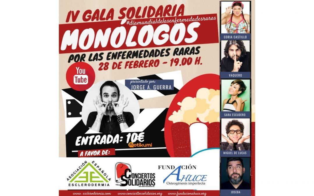 Cartel de la IV Gala Monólogos solidarios por el dia undial de las enfermedades raras